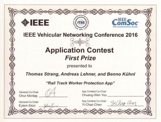 IEEE VNC 2016 App Contest Winner Certificate